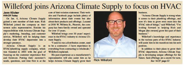 Willeford joins Arizona Climate Supply to focus on HVAC