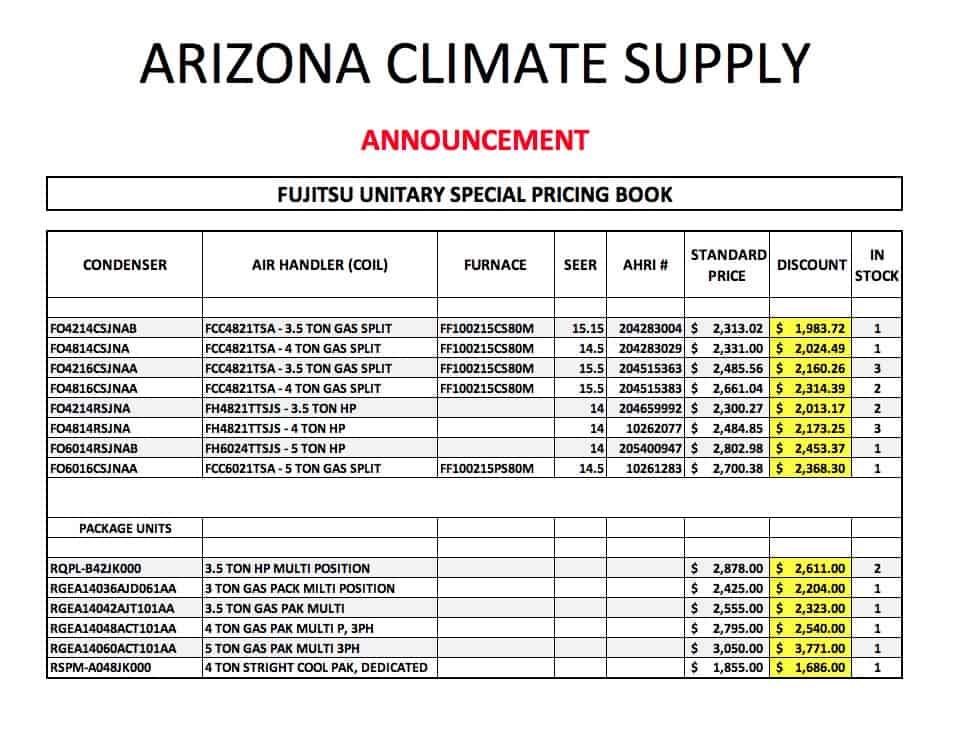 Arizona Climate Supply ACS - Fujitsu Clearance Items May 2021